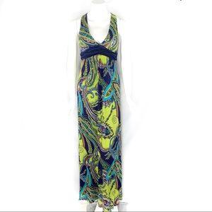 EUC-Pretty Good Vibrant Print CrossBack Maxi Dress